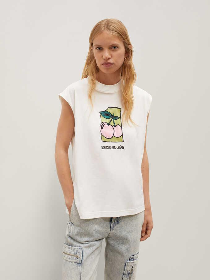 T-Shirt Sans Manches Avec Imprimé Et Broderie De Cerises, Blanc, hi-res