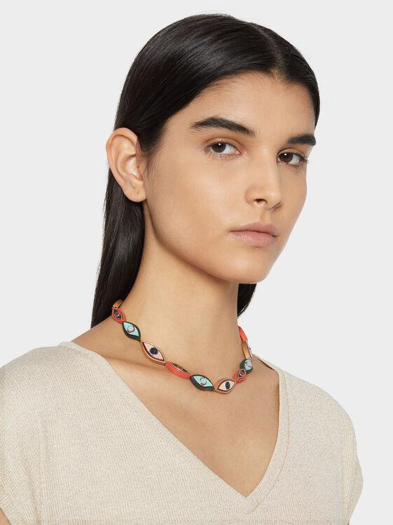 Short Necklace With Eye Motif, Multicolor, hi-res