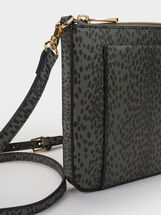 Animal Print Crossbody Bag, Khaki, hi-res