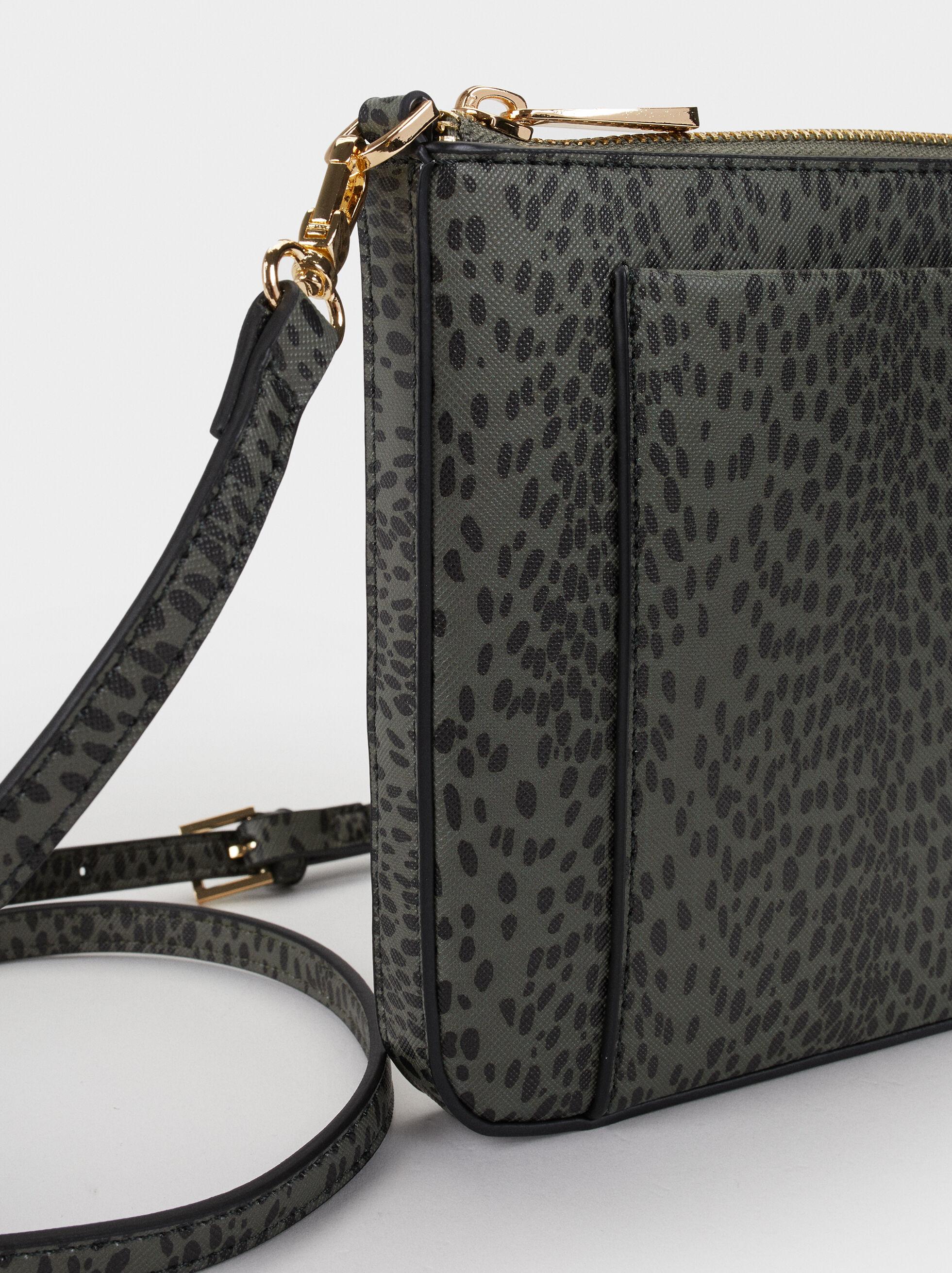 Animal Print Crossbody Bag, Khaki, hi-res