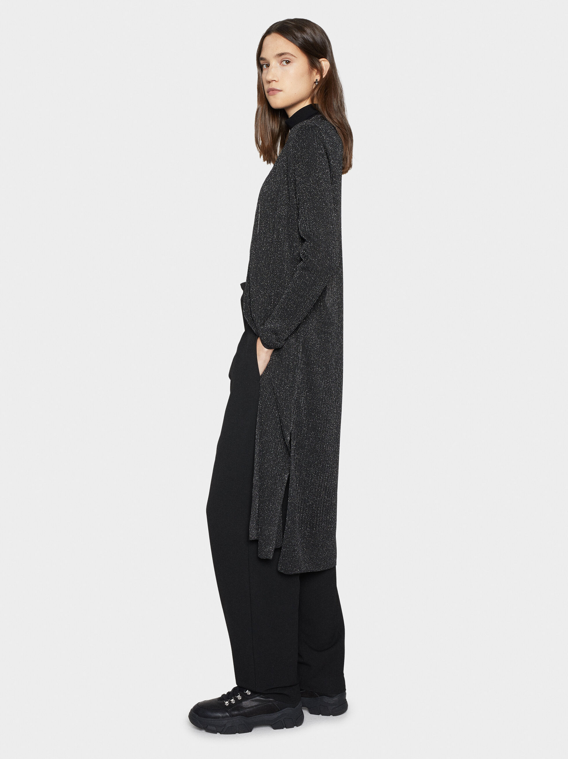 Long Knitted Cardigan, Black, hi-res