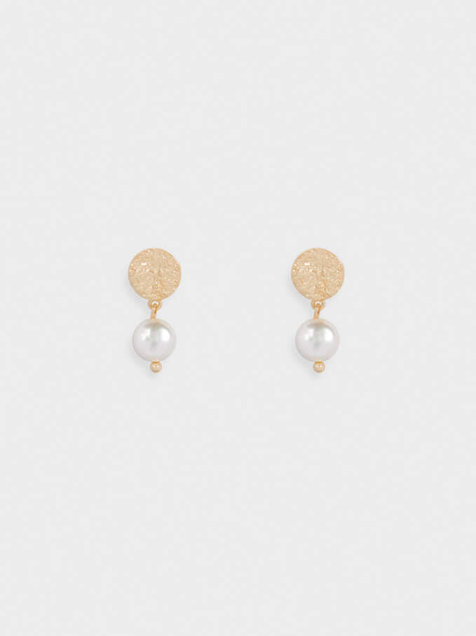 Short 925 Silver Earrings With Faux Pearls, Golden, hi-res