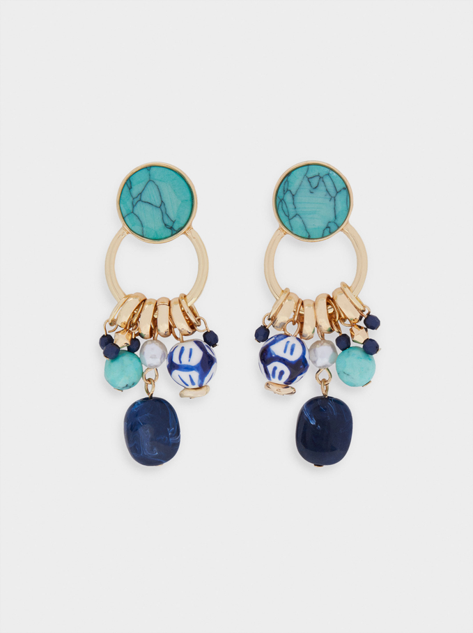 Long Earrings With Stones, Blue, hi-res