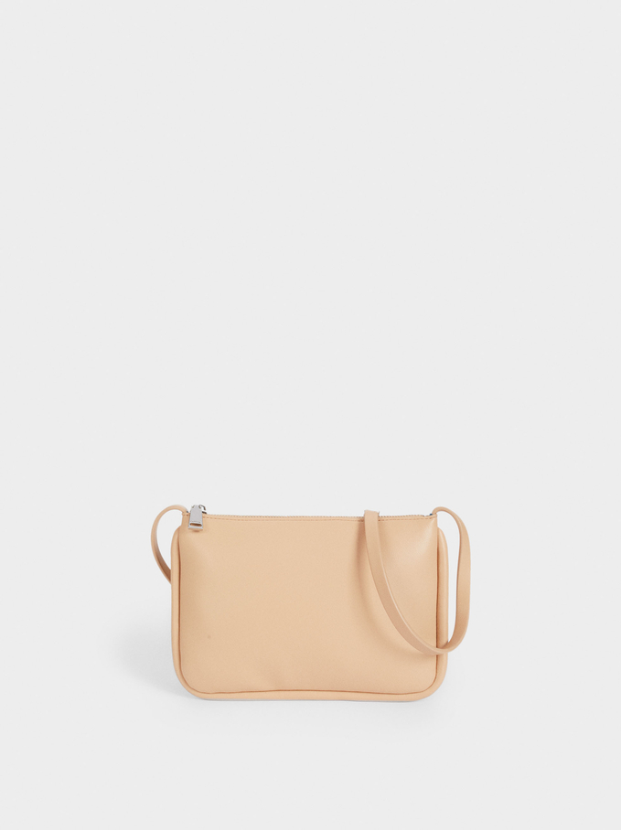 Crossbody Bag With Contrast Interior, Brown, hi-res