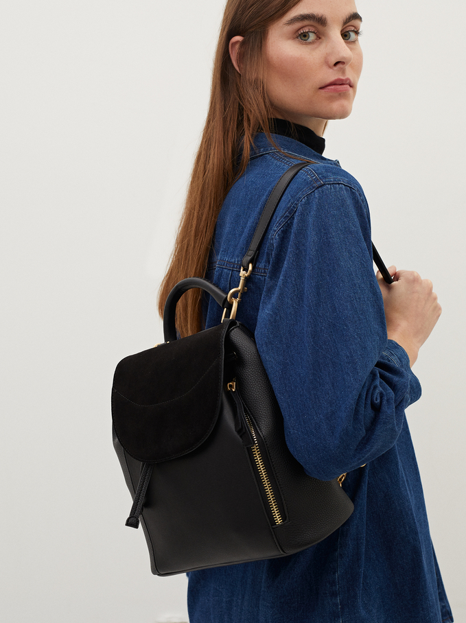 Suede Backpack With Detachable Multi-Way Straps, Black, hi-res