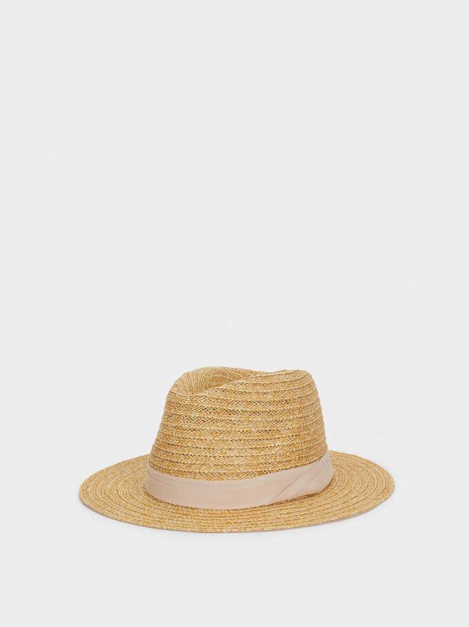Sombrero Trenzado Con Cinta A Contraste, Beige, hi-res