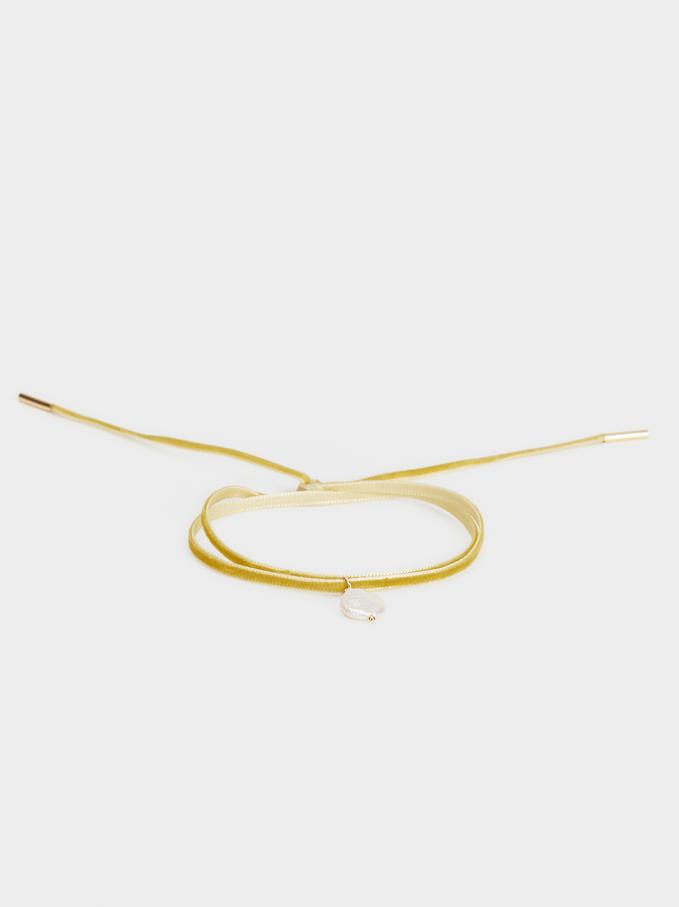 Pink Lemon Velvet Adjustable Bracelet, Yellow, hi-res