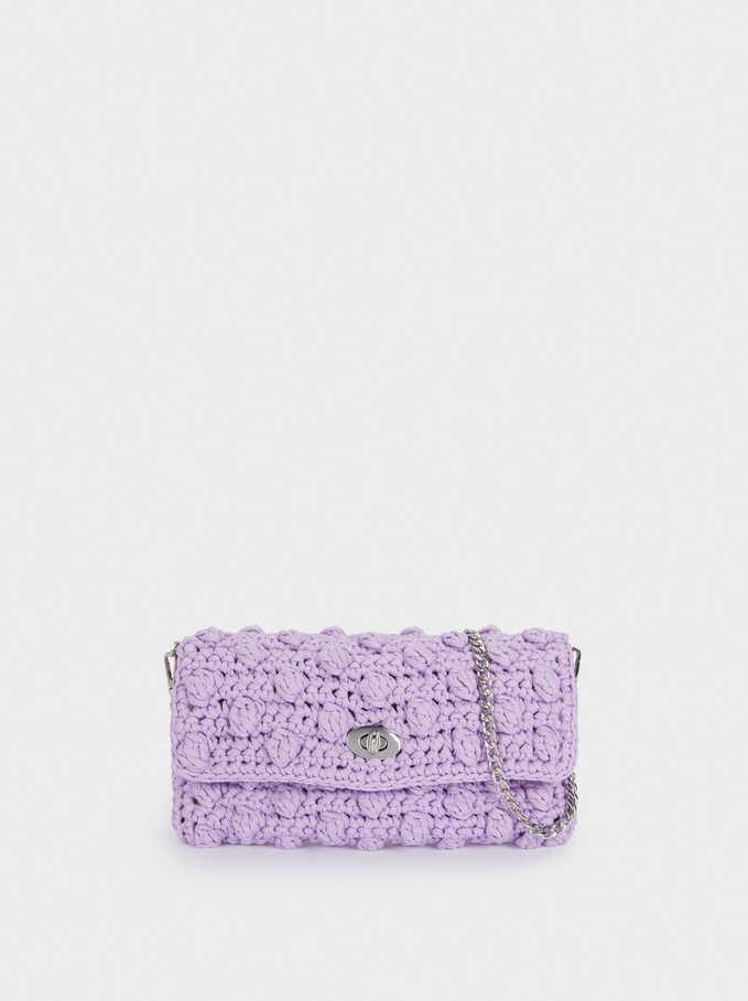 Embroidered Crossbody Bag, Purple, hi-res