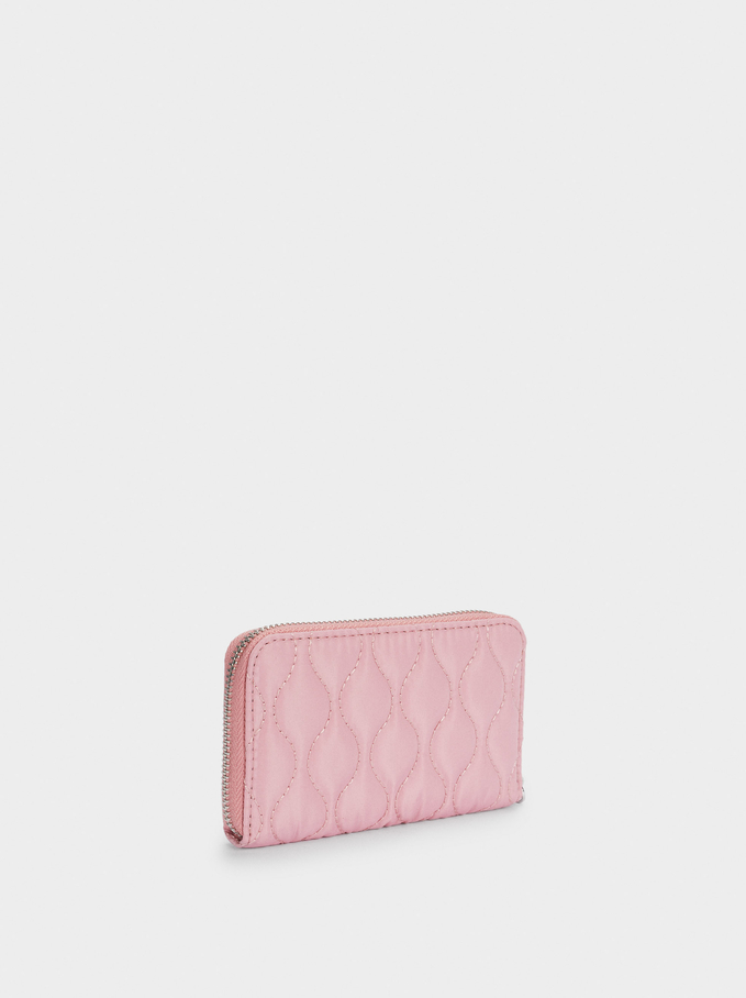 Quilted Nylon Compact Wallet, Pink, hi-res