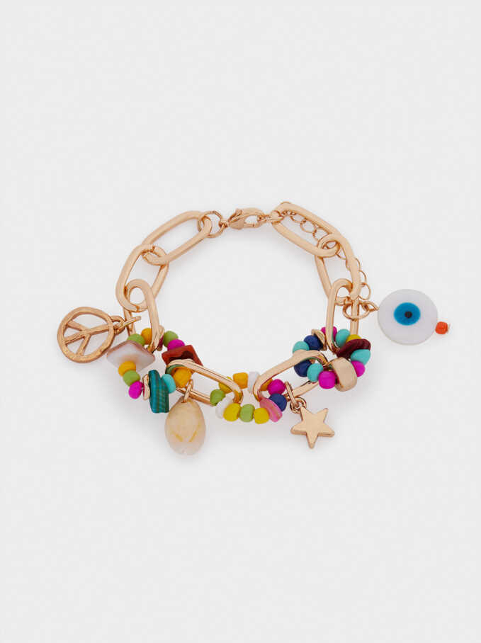 Beads And Charms Bracelet, Multicolor, hi-res