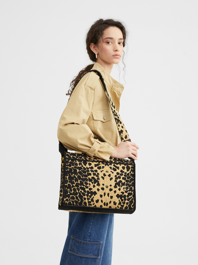 Animal Print Tote Bag, Black, hi-res