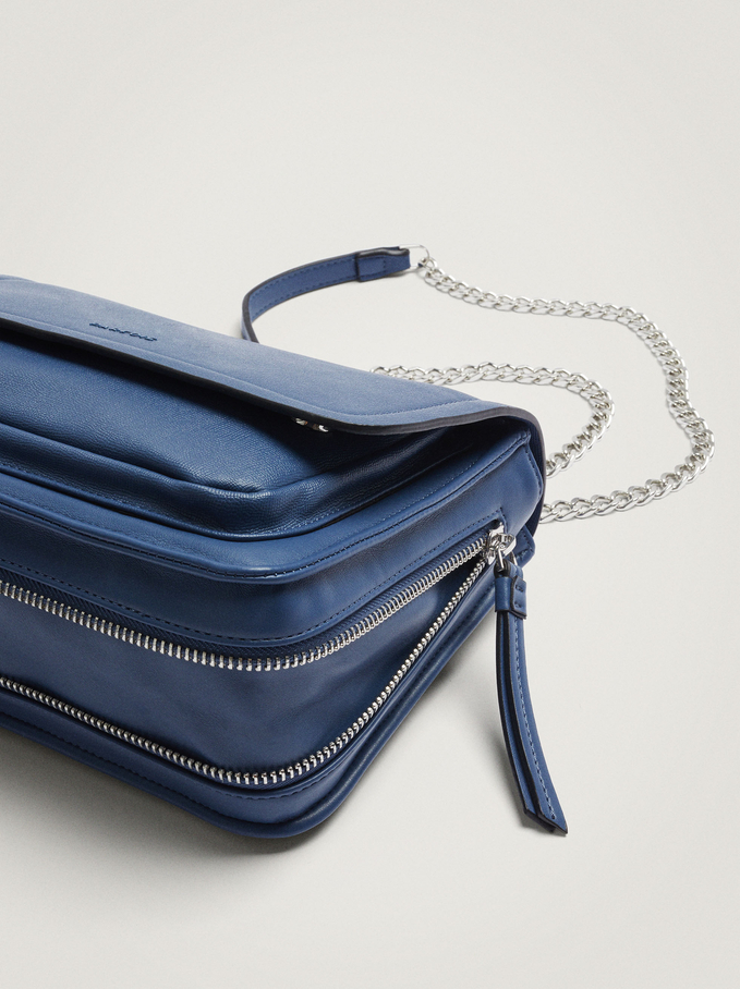 Crossbody Bag With Chain Handle, Blue, hi-res