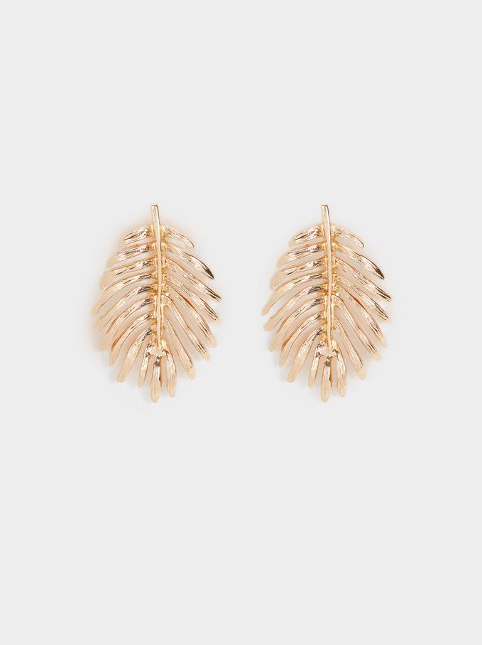 Leaf Earrings, Golden, hi-res