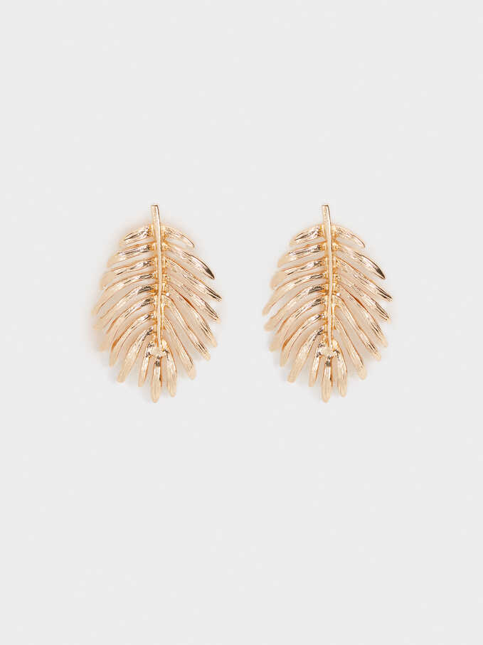 Leaf Earrings, Golden, hi-res