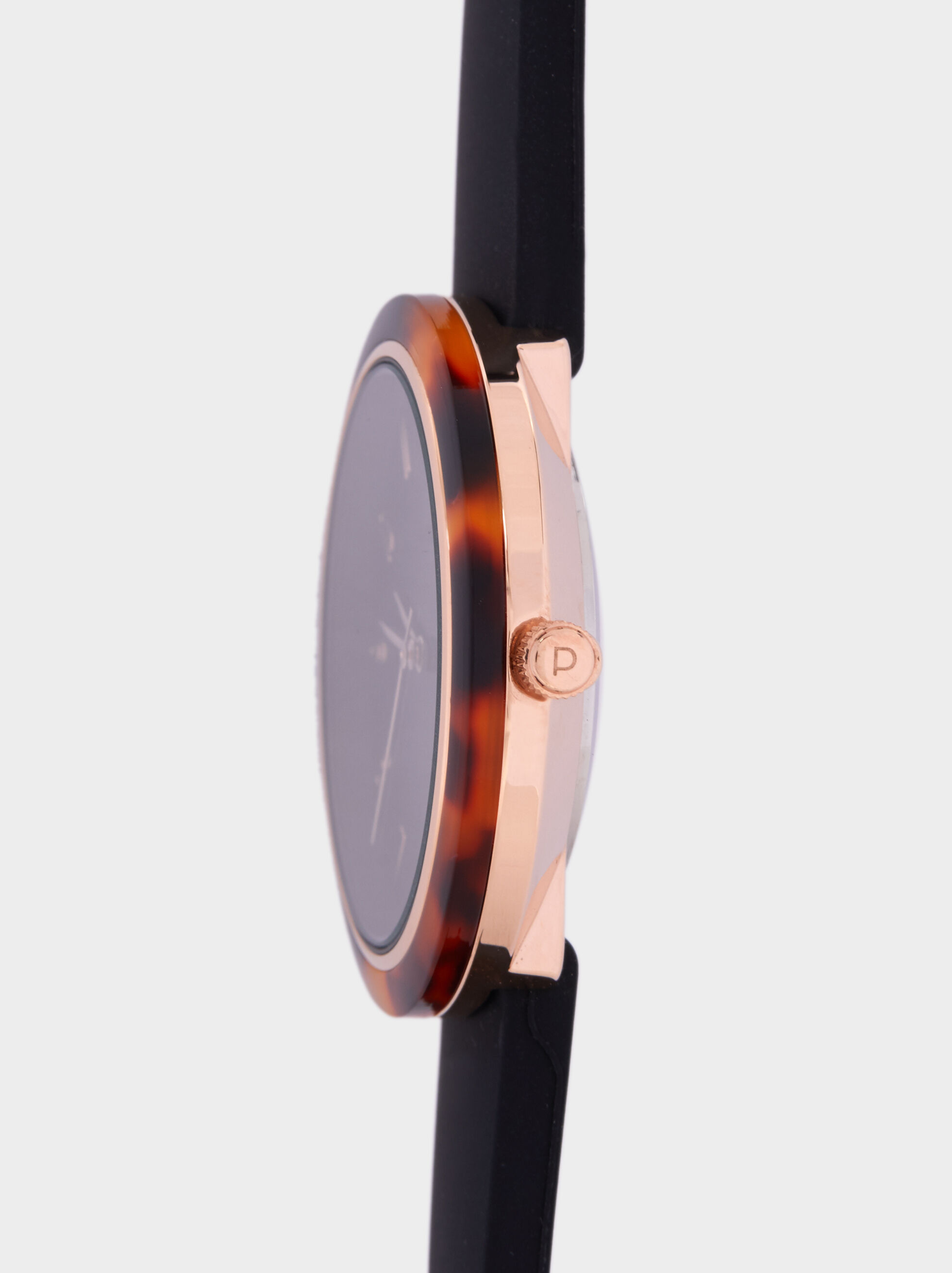 Watch With Tortoiseshell Bezel, Black, hi-res