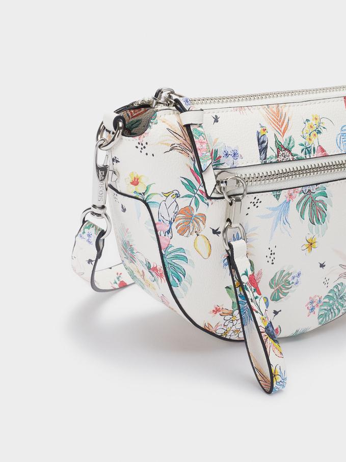 Floral Print Crossbody Bag, White, hi-res