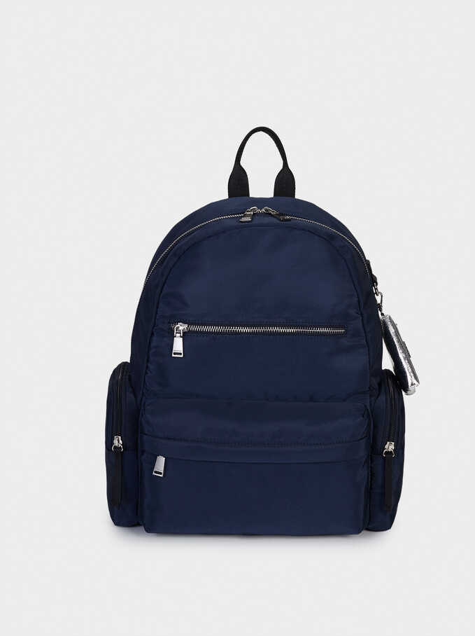 "Nylon Backpack For 13"" Laptop, Navy, hi-res"
