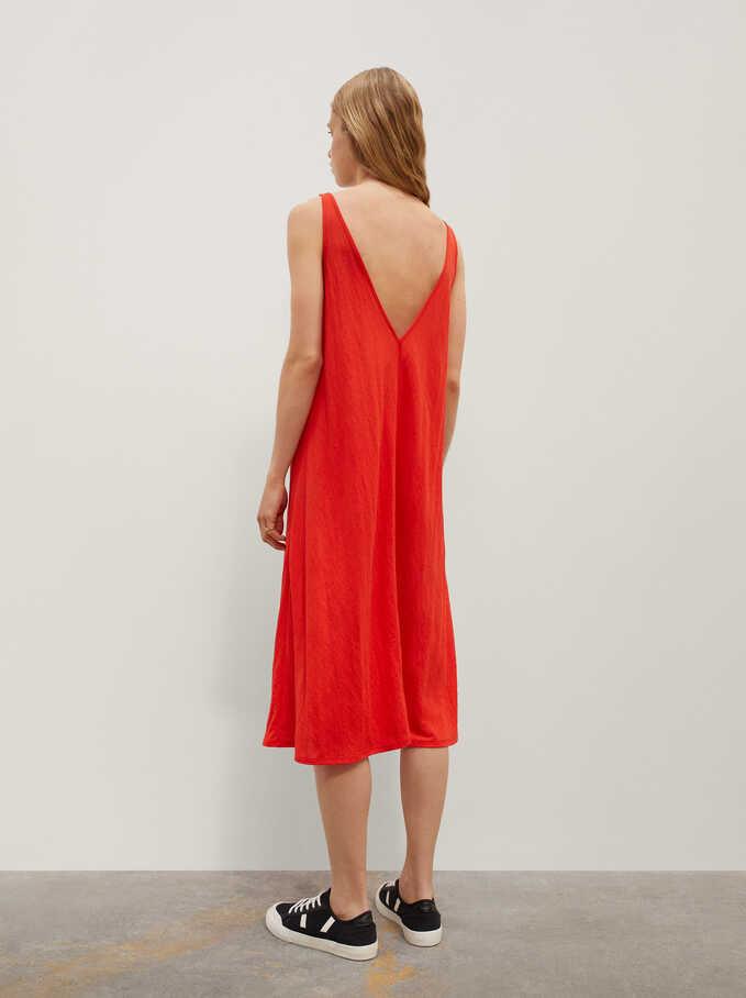 Vestido Liso Con Cuello De Pico, Rojo, hi-res
