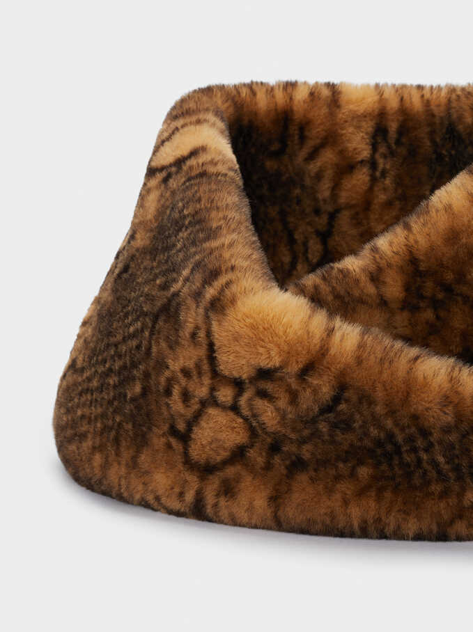 Snake-Print Winter Collar, Brown, hi-res