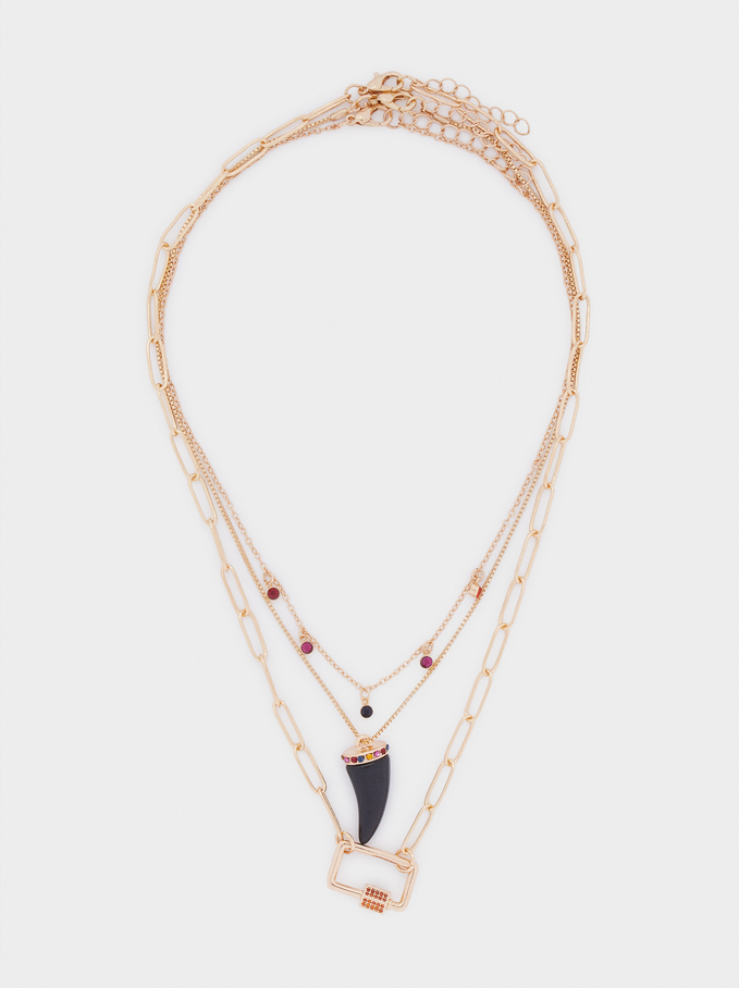 Horn And Crystals Necklace Set, Multicolor, hi-res
