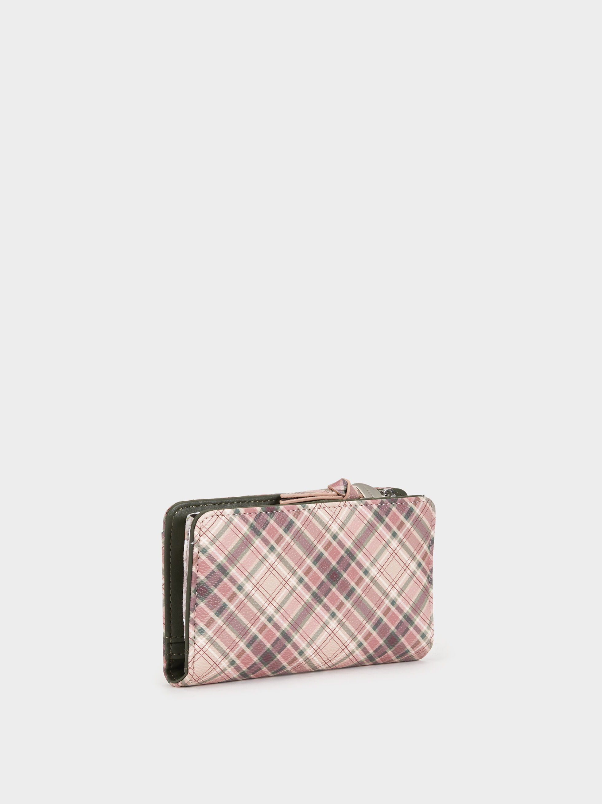 Medium Check Print Wallet, Pink, hi-res