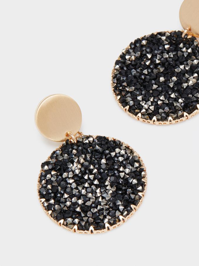 Medium Steel Earrings With Beads, Golden, hi-res