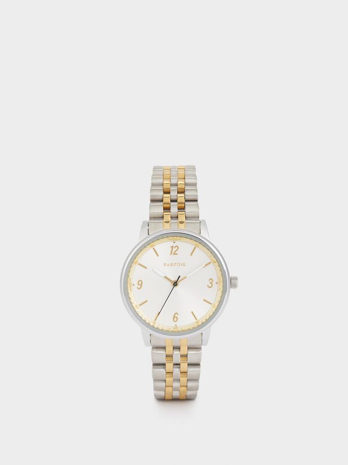 Zegarek Z Dwukolorowym Metalowym Paskiem, Zloty, hi-res