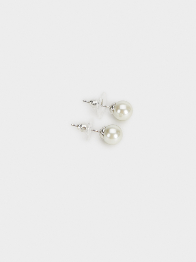 Set Of Faux Pearl Studs, Multicolor, hi-res