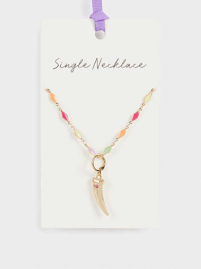 Short Horn Necklace, Multicolor, hi-res