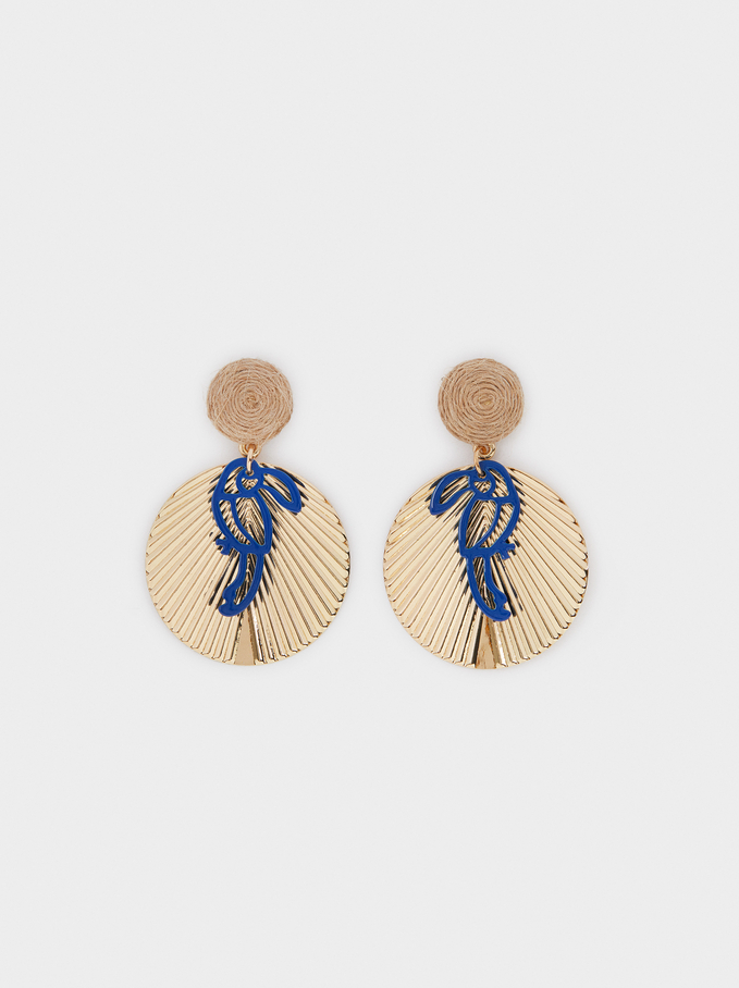 Long Earrings With Toucan, Navy, hi-res