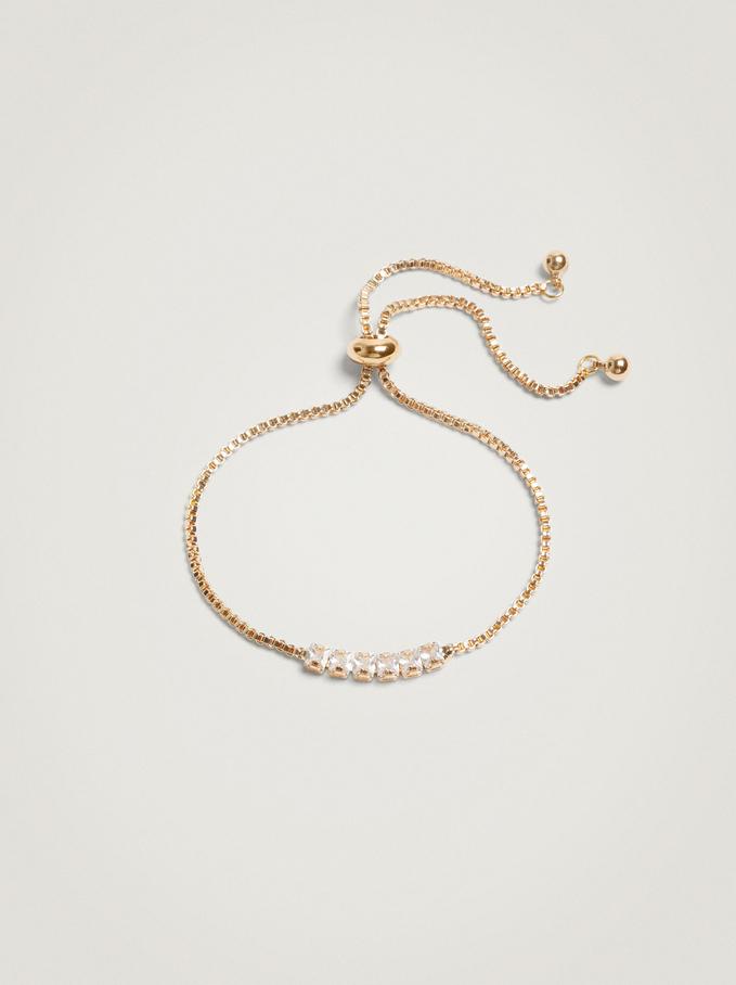 Adjustable Bracelet With Crystals, Golden, hi-res