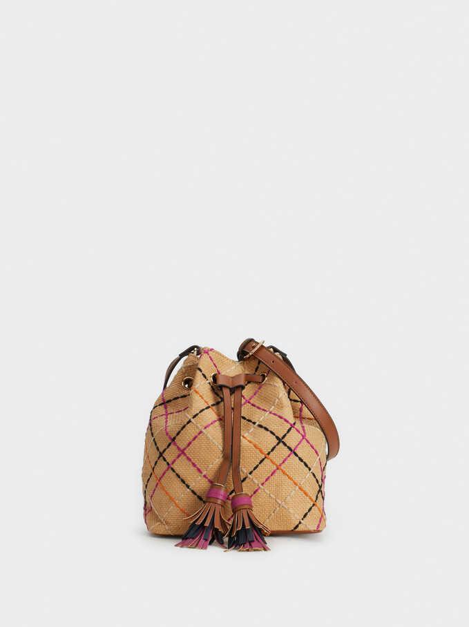 Faux Raffia Bucket Bag, Beige, hi-res