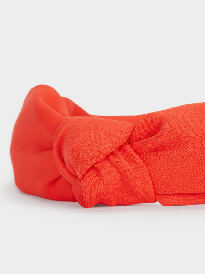 Wide Headband With Knot, Coral, hi-res