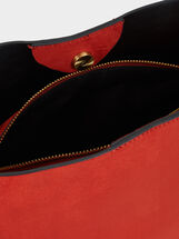 Suede Texture Handbag, Brick Red, hi-res