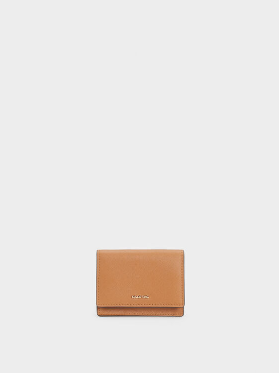 Plain Medium Card Holder, Camel, hi-res