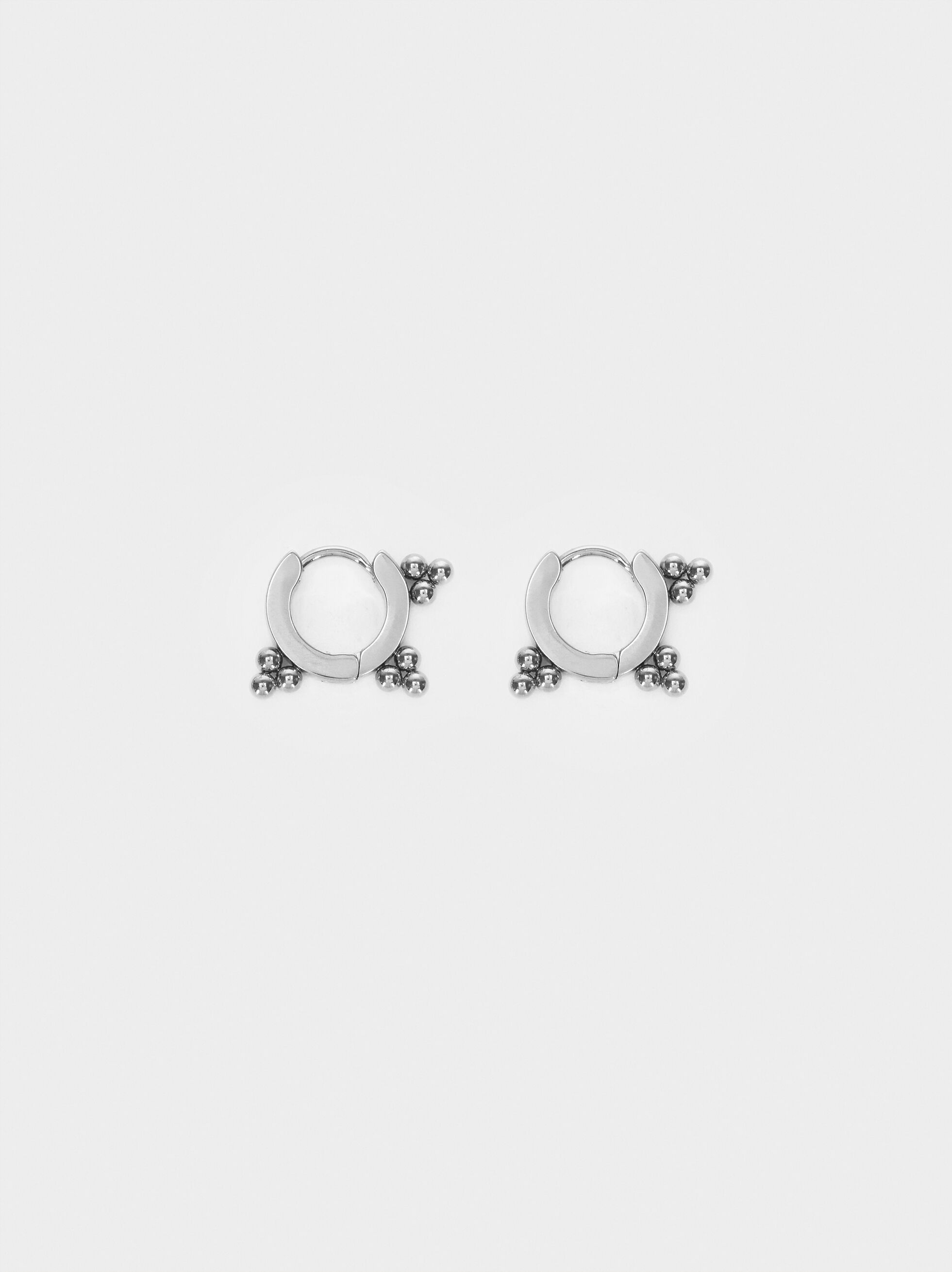 Silver Stainless Steel Small Hoop Earrings, Silver, hi-res