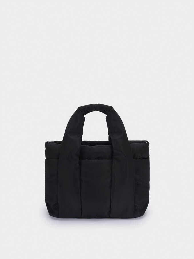 Nylon Tote Bag With Shoulder Strap, Black, hi-res