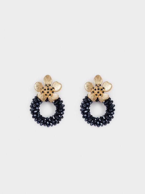 Savage Sparkle Flower Long Earrings, Blue, hi-res