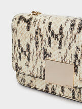 Animal Print Crossbody Bag, Beige, hi-res