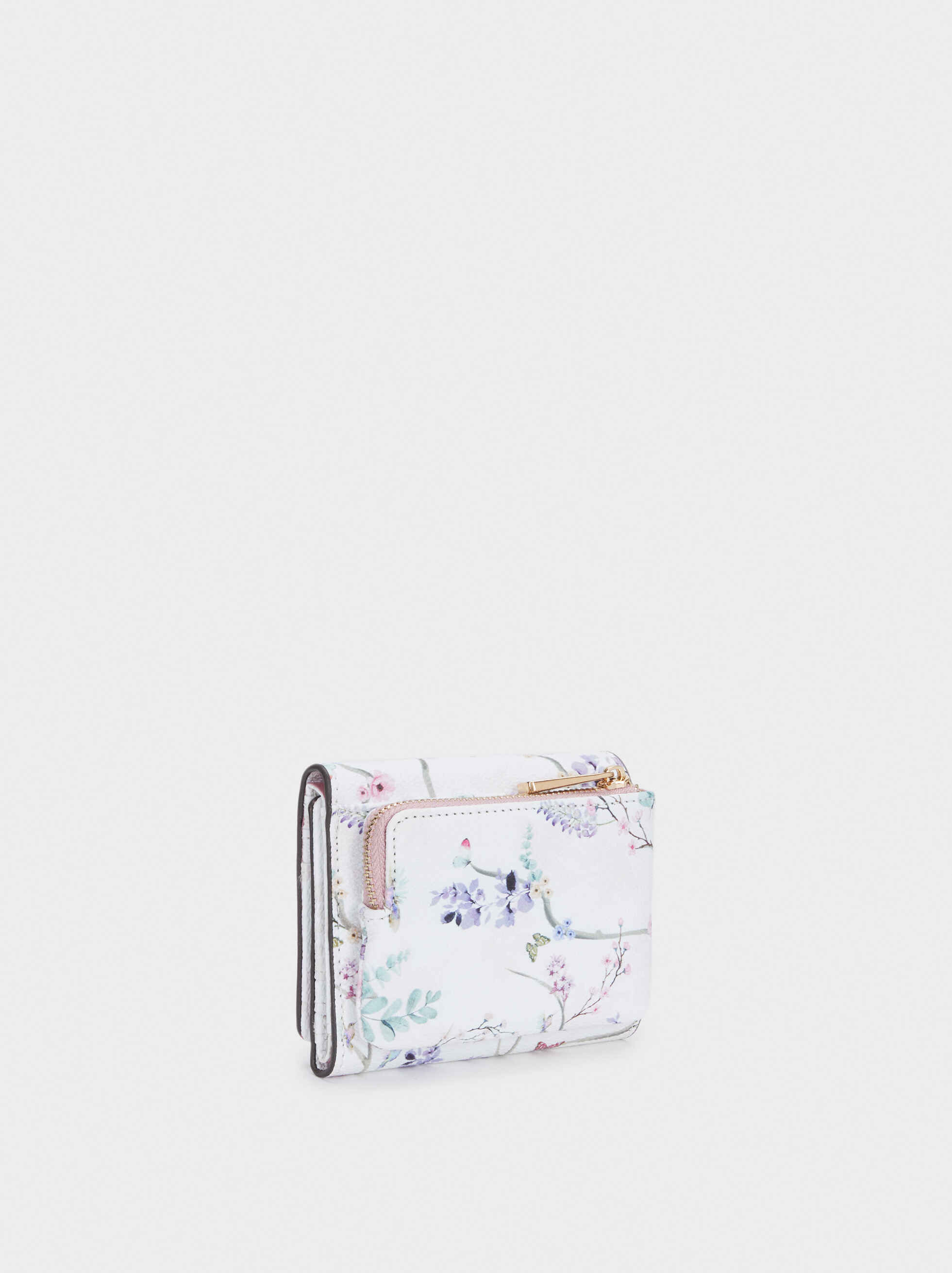 Compact Floral Print Wallet, Violet, hi-res