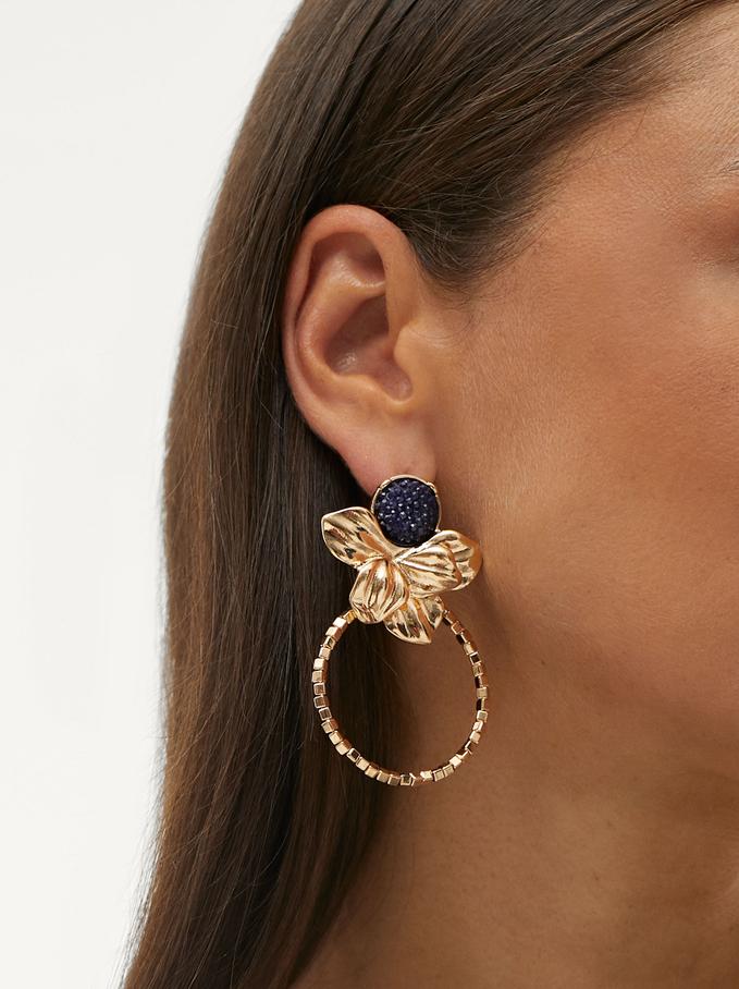 Long Flower Earrings, Blue, hi-res