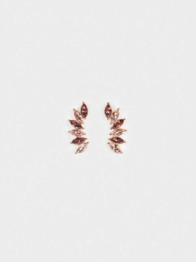 Boucles D'Oreilles Ear Cuff Faux-Diamants, Multicolore, hi-res