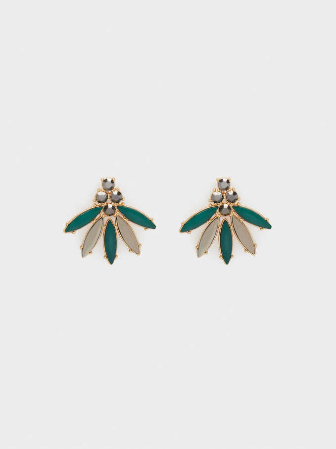 Shiny Short Earrings, Green, hi-res