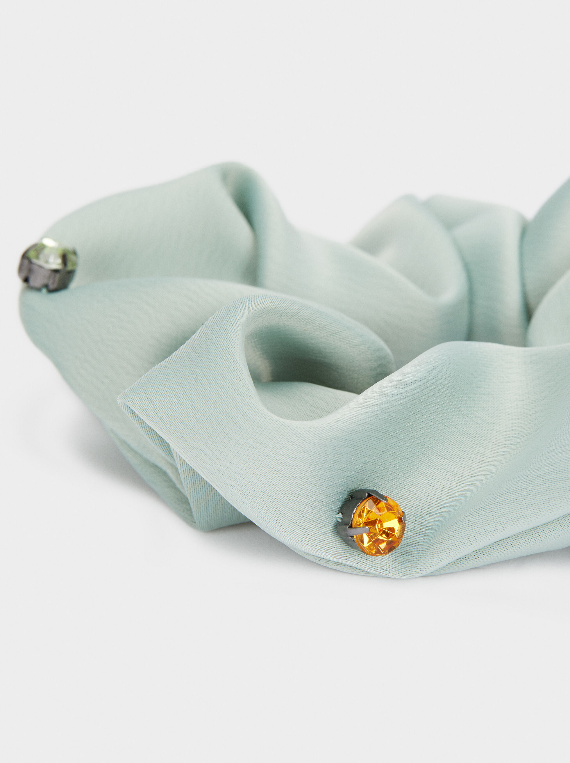 Scrunchie With Contrast Details, Green, hi-res