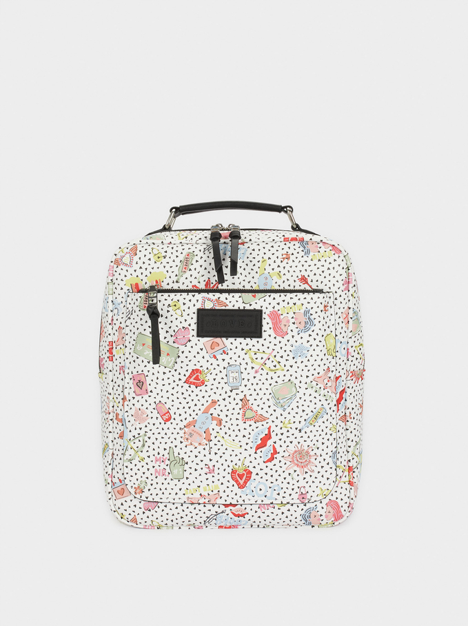 "Printed Backpack Backpack For 13"" Laptop, White, hi-res"