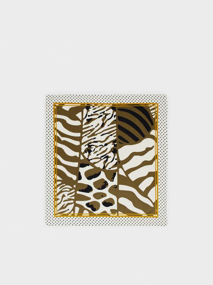 Pañuelo Cuadrado Estampado Animal, Caqui, hi-res