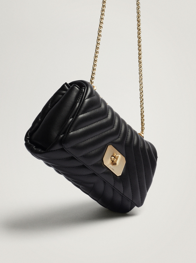 Quilted Crossbody Bag With Chain Handle, Black, hi-res