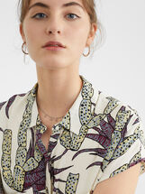 Floral Print Shirt Dress, Ecru, hi-res