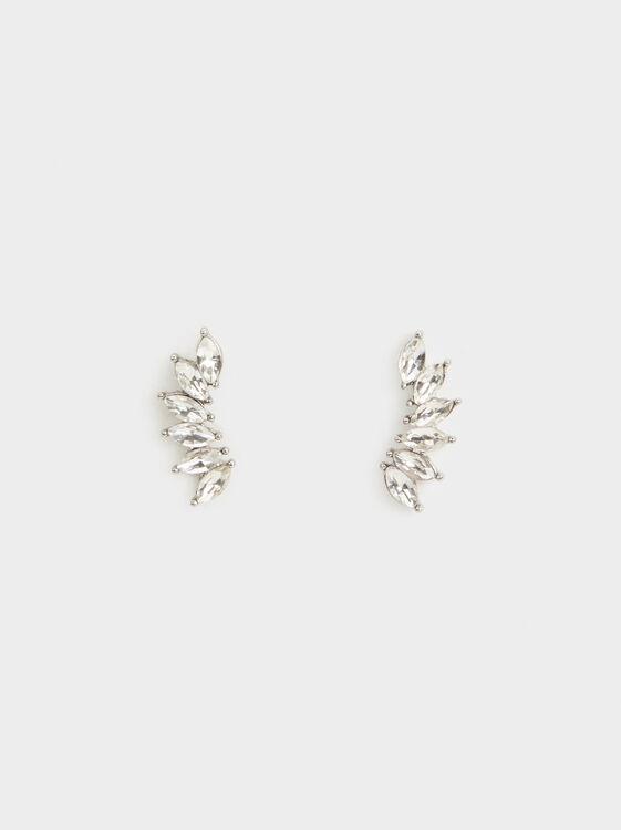 Rhinestone Ear Cuffs, Silver, hi-res