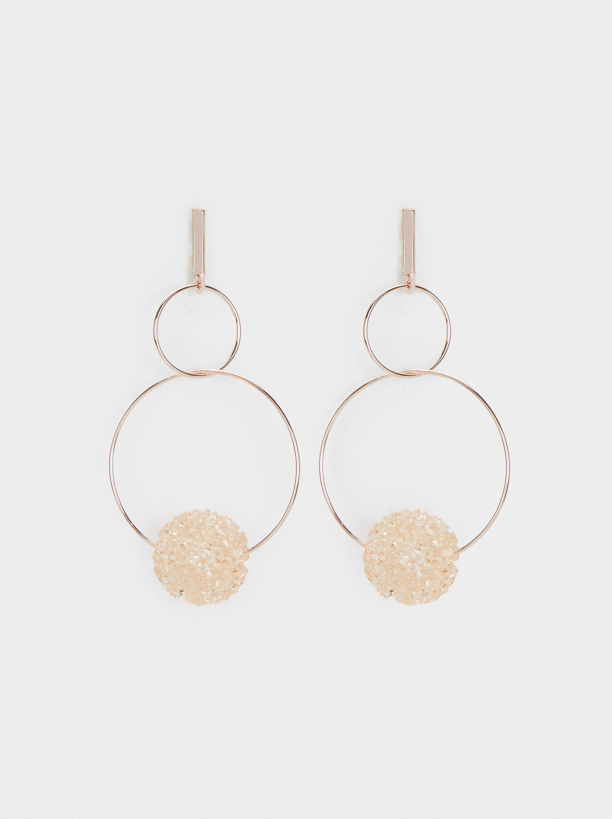 Long Earrings With Pink Rhinestones, Orange, hi-res